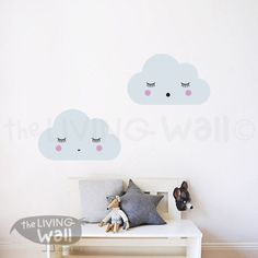 Dreaming Clouds Wall Decals, Cloud Decal, Sweet Clouds Wall Stickers, Cloud Nursery Decor