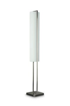 Branca - lampa podłogowa wykonana z metalu i białego satynowego szkła. Prosta i wyrazista w formie. Źródłem światła są  tradycyjne żarówki o trzonku E27 - 3 x 27W. Wymiary: wysokość - 162 cm, długość - 24 cm, szerokość 24 cm. #PhilipsLighting #Showroom #Duchnicka