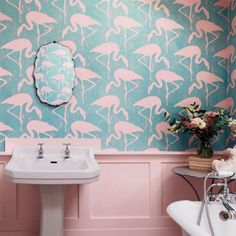 Flamingos Vintage Wallpaper Flamingos in chalk on a dove background. These striking birds, boldly coloured, make a real statement.