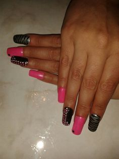 Pink ,black and silverr