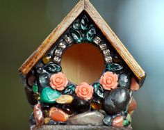 mosaic birdhouse Miniature Whimsical garden large keychain with colorful stones and silver charms pink roses dark wood unique gift