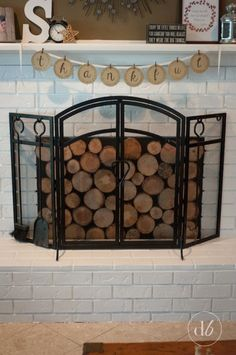 Wood Slice Fireplace Cover