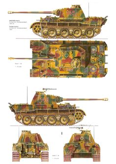 An illustration of a Panzerkampfwagen V Panther Ausführung A (English: Armoured Car V Panther Variant A) (Abbreviation: PzKpfw V Ausf. Armed with a KwK 42 cannon and two MG SS Panzer Panzer Iv, Army Vehicles, Armored Vehicles, Der Panther, Mg 34, Military Armor, Military Camouflage, Tank Armor, War Thunder