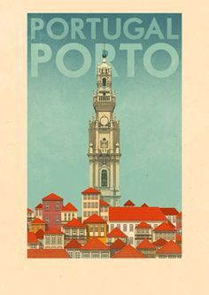 Portugal, Porto travel poster by Rui Ricardo Illustrations Vintage, Illustrations And Posters, Framed Art Prints, Poster Prints, Pub Vintage, Tourism Poster, Travel Illustration, Old Ads, Travel Images
