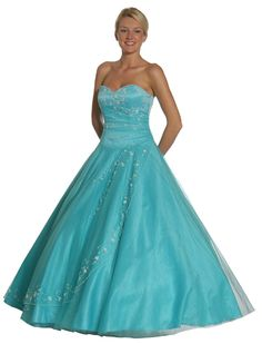 Strapless Aqua Quinceanera Princess Ballroom Prom Gown Dress With Beads $297.99