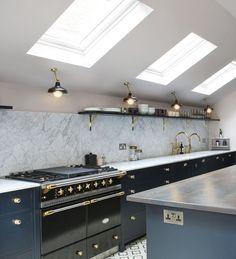 Kitchen Ceiling Lighting Factorylux for North London Project - Is your home feeling a tiny dated? Kitchen Ceiling Design, Ceiling Fan In Kitchen, Kitchen Lighting Design, Kitchen Lighting Fixtures, Home Decor Kitchen, Open Plan Kitchen, New Kitchen, Narrow Kitchen, Awesome Kitchen