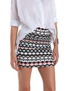 Geometric Print Bodycon Mini Skirt #miniskirt #CharlotteLook