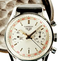 Heuer Carrera ref. 3647T with Red Tachy Bezel