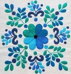 Hand Embroidered Mexican Otomi Tenango Fabric Folk Art
