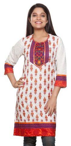 Rangmanch Women's Indian Ethnic Kurta Tunic Floral Embroidered Neck Yoke