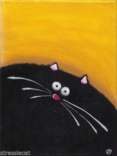 Acrylic Fine Art Painting on Canvas Fat Cat Series Whimsical Black Kitty 9x7"
