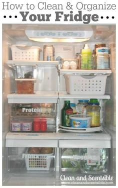 to Organize Your Fridge DIY: Organizing the Fridge and Freezer {The Household Organization Diet :) ! Most Thorough Post Ever !DIY: Organizing the Fridge and Freezer {The Household Organization Diet :) ! Most Thorough Post Ever ! Organisation Hacks, Freezer Organization, Refrigerator Organization, Household Organization, Kitchen Organization, Kitchen Storage, Organized Fridge, Fridge Storage, Kitchen Cleaning