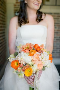 The flowers and the colors make for a romantic but modern bouquet.