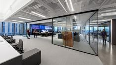 Equity trading company IEX Group recently appointed architectural firm TPG Architecture to design their new office in New York City. Office Open Plan, Open Office Design, Office Interior Design, Office Interiors, Office Designs, Workspace Design, Office Workspace, Office Building Architecture, Interior Architecture