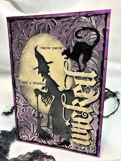A Halloween Botanical Embossing T. Photo Halloween, Halloween Shadow Box, Halloween Tags, Vintage Halloween, Fall Halloween, Halloween Witches, Halloween 2019, Halloween Stuff, Halloween Paper Crafts