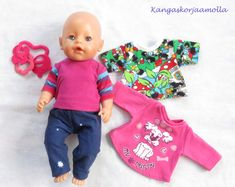 Baby Born nukelle kaavat Sissi, Onesies, Couture, Sewing, Crafts, Clothes, Patterns, Fashion, Doll