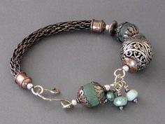 Jade and Viking Knit Bracelet-----Copper