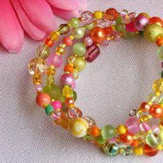 Memory wire bracelet -'Citrus Burst' - Lime, Orange, Pink - FREE UK P £6.95