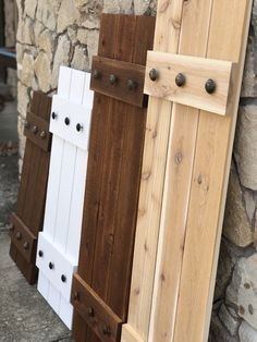 Excited to share the latest addition to my shop: Painted cedar shutters with wider battens! Shutters Brick House, Outdoor Window Shutters, Cottage Shutters, Farmhouse Shutters, Cedar Shutters, Rustic Shutters, Wood Shutters, House Siding, Craftsman Door