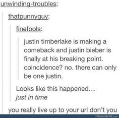 Justin Timberlake...if you do not put out an album in the next 2-5 years that has this title, you have failed us all.