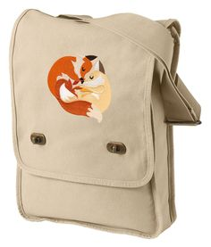 Snuggly Foxes Embroidered Canvas Field Bag