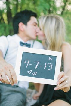 wedding date chalkboard sign for engagement photo. So many more engagement ideas http://www.weddingchicks.com/2013/09/19/vintage-picnic-engagement-session/