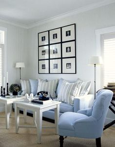 living rooms - white black photo gallery white blue stripes pillows floor lamps blue sofas white tables Beautiful, light and bright living room