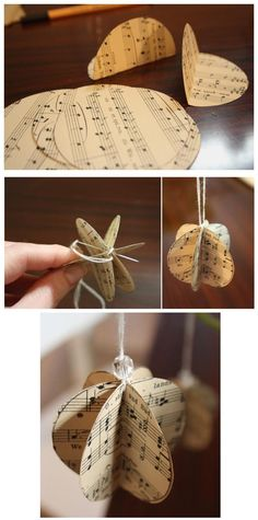 vintage christmas tree ideas christmas tree decorations diy ornaments sheet music for 2019 Christmas Tree Decorations To Make, Music Christmas Ornaments, Christmas Tree Garland, Paper Ornaments, Christmas Tree Toppers, Christmas Diy, Christmas Mantles, Silver Christmas, Victorian Christmas