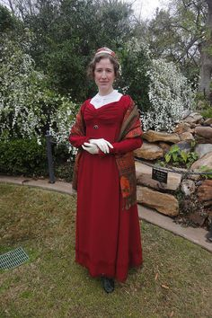 The Paisley Pixie, red pleated regency gown by festive attyre, via Flickr