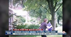 A woman stealing a Trump sign hit a bit of a wall mid-theft, and the homeowner caught the whole thing - http://eradaily.com/woman-stealing-trump-sign-hit-bit-wall-mid-theft-homeowner-caught-whole-thing/