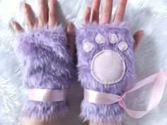 Cute Lilac Purple Pink Black Furry Cosplay Cat Kitty Neko Paw Fake Fur Fingerless Gloves Wrist Warmers Kawaii Halloween Festival Costume by KittenTreasures on Etsy https://www.etsy.com/listing/163565540/cute-lilac-purple-pink-black-furry