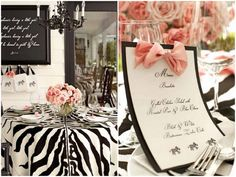 Loving this blog/shop! This is a glamorous black and white baby shower with pops of soft pink! <3