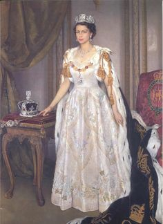 Queen Elizabeth II (1926-living2013) UK coronation portrait