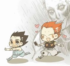 Gon and Hisoka… Lol, run Gon run!        ~Hunter X Hunter