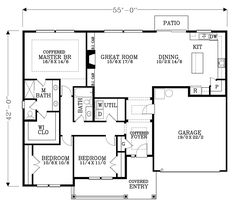 Cottage Country Craftsman Ranch Traditional House Plan 44611 Level One