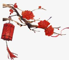 Chinese style,Joyous,Red Lantern,safflower PNG and PSD
