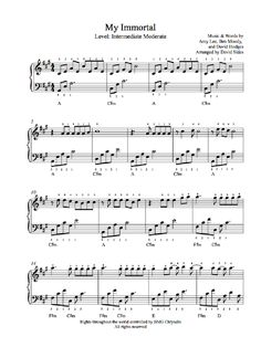 My Immortal by Evanescence Piano Sheet Music Easy Piano Sheet Music, Piano Music, Music Sheets, Piano Lessons, Music Lessons, Ben Moody, Music Words, Music Score, Evanescence