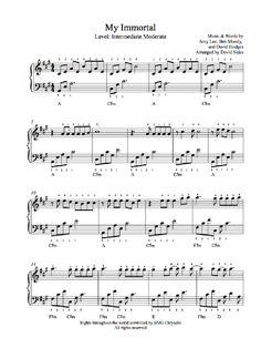 My Immortal by Evanescence Piano Sheet Music | Intermediate Level