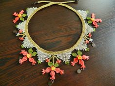 Ethnic jewelry. Embroidered lace necklace boho by guldemirdinc