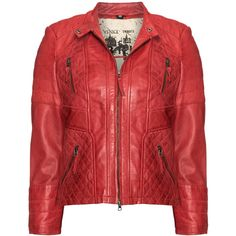 Cabrini Red Plus Size Lined leather jacket ($310) ❤ liked on Polyvore
