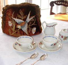 Antique Velvet Silk Embroidered Tea Cozy with Ruffles