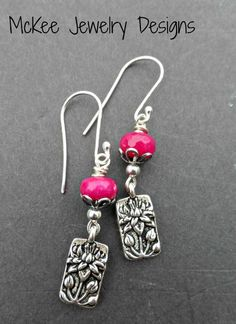 Pink stone, Lotus flower sterling silver earrings. Small earrings. -  - McKee Jewelry Designs - 1