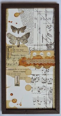 Uporabljen material: »homemade« lesen okvir pobarvan s temno rjavo akrilno barvo, »vintage« papir iz notne knjige, etikete najedene na netu, čipka, »tissue« papir, leseni krogci, Tim Holtz tissue wrap