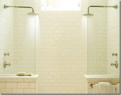 """Shower tile time, here with a beck stack 3x6"""" gloss with tan grout"""