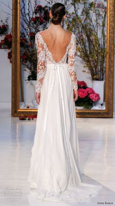 anne barge spring 2017 bridal lace long sleeves plunging v neckline lace embelllished bodice pleated modified a line wedding dress low v back sweep train (024) bv