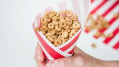 """Today I am sharing a sweet new twist on an old school classic snack, Mini Doughnut Fried Cheerios (aka, Mini Doughnut Hot Buttered Cheerios)! MINI DOUGHNUT FRIED CHEERIOS - Cheerios """"fried"""" in butter with a hint Appetizer Recipes, Dog Food Recipes, Baking Recipes, Snack Recipes, Appetizers, Baby Recipes, Cereal Recipes, Top Recipes, Sweet Recipes"""