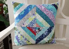 String block pillow in mostly turquoise and blues. www.sew-handmade.blogspot.com