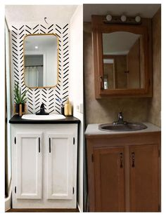 Paint Bathroom Cabinets white and blue, change mirror. Rv Interior Remodel, Camper Renovation, Camper Interior, Diy Camper, Home Interior, Camper Life, Camper Ideas, Rv Life, Camper Bathroom