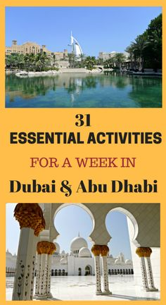 31 essential activities for a weeks Itinerary in Dubai and Abu Dhabi. It covers the main attractions and is fun. Check it out at http://www.globalgadding.com/dubai-abu-dhabi-7-day-itinerary/