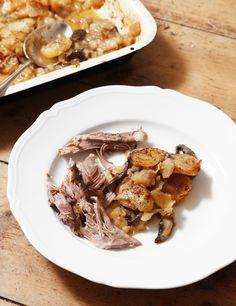 Lamb, potatoes, mushrooms